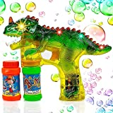Toysery Bubble Gun for Kids, Colorful Bubble Gun Light Up Blower Toy, Dinosaur Bubble Machine Toy for Toddlers Kids Summer Outdoor Fun, LED Lights and Music for Birthday Parties - Extra Refill Bottle