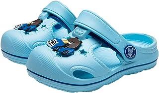 Hopscotch Running Baby Boys EVA Cartoon Applique LED Clogs in Blue Color