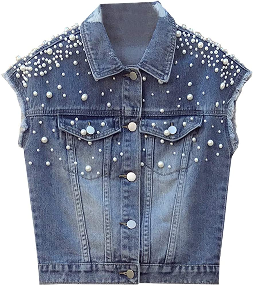 SCOFEEL Women's Denim Vest Button Downs Sleeveless Jacket Plus Size with Pearls