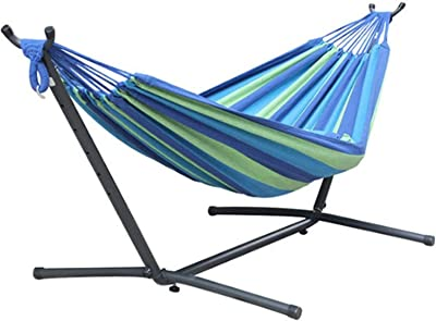 Seaipen Outdoor Hammock with Stand 2 Person Heavy Duty,Hamacas para Patio Includes Portable Carrying Bag,Durable Indoor Standing Hammock Bed (Blue/Green)