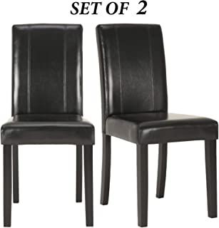 Upholstered Dining Chairs with Solid Wooden Legs, Modern Stylish PU Leather Padded Parsons Chairs Set of 2 (Black)