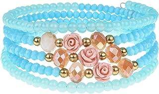 Cyose Multilayer Crystal Pearls Bracelet Bangle Adjustable Beads Bracelet for Women Girls Cuff Wristband Jewelry