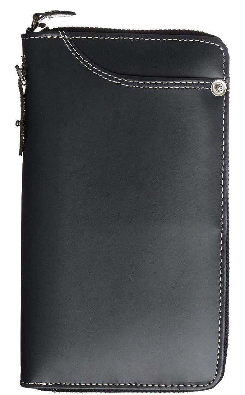 万歳文言構成極上ドイツ製ボンデッドレザー 長財布 大容量 YKK ラウンドファスナー ブラック ME0298_c1