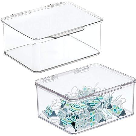 mDesign organiseur bureau pour ranger stylos, bloc-notes, etc. (lot de 2) – boite de rangement en plastique sans BPA – boite avec couvercle pour tous types d'objets – transparent