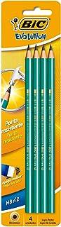 Lápis Preto Nº 2HB Redondo, BIC, Evolution, 835319, Verde, 4 Unidades