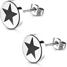 Stainless Steel Two-Tone Illusion Full All Star Shield Round Circle Button Stud Post Earrings
