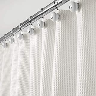 mDesign Extra Long Hotel Quality Polyester/Cotton Blend Fabric Shower Curtain, Rustproof Metal Grommets - Waffle Weave for Bathroom Showers and Bathtubs - 72