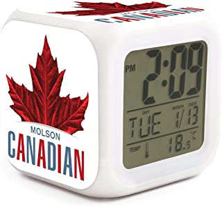 Canada Day Red Maple Leaf Molson Canadian Alarm Clock Displays Time Date and Temperature Soft Nightlight for Kids Home Office Bedroom Heavy Sleepers