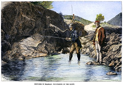 Scotland Fishing 1880 Nfly-Fishing For Salmon On The Cluny River In Aberdeenshire Scotland Wood Engraving English 1880 Poster Print by (18 x 24)