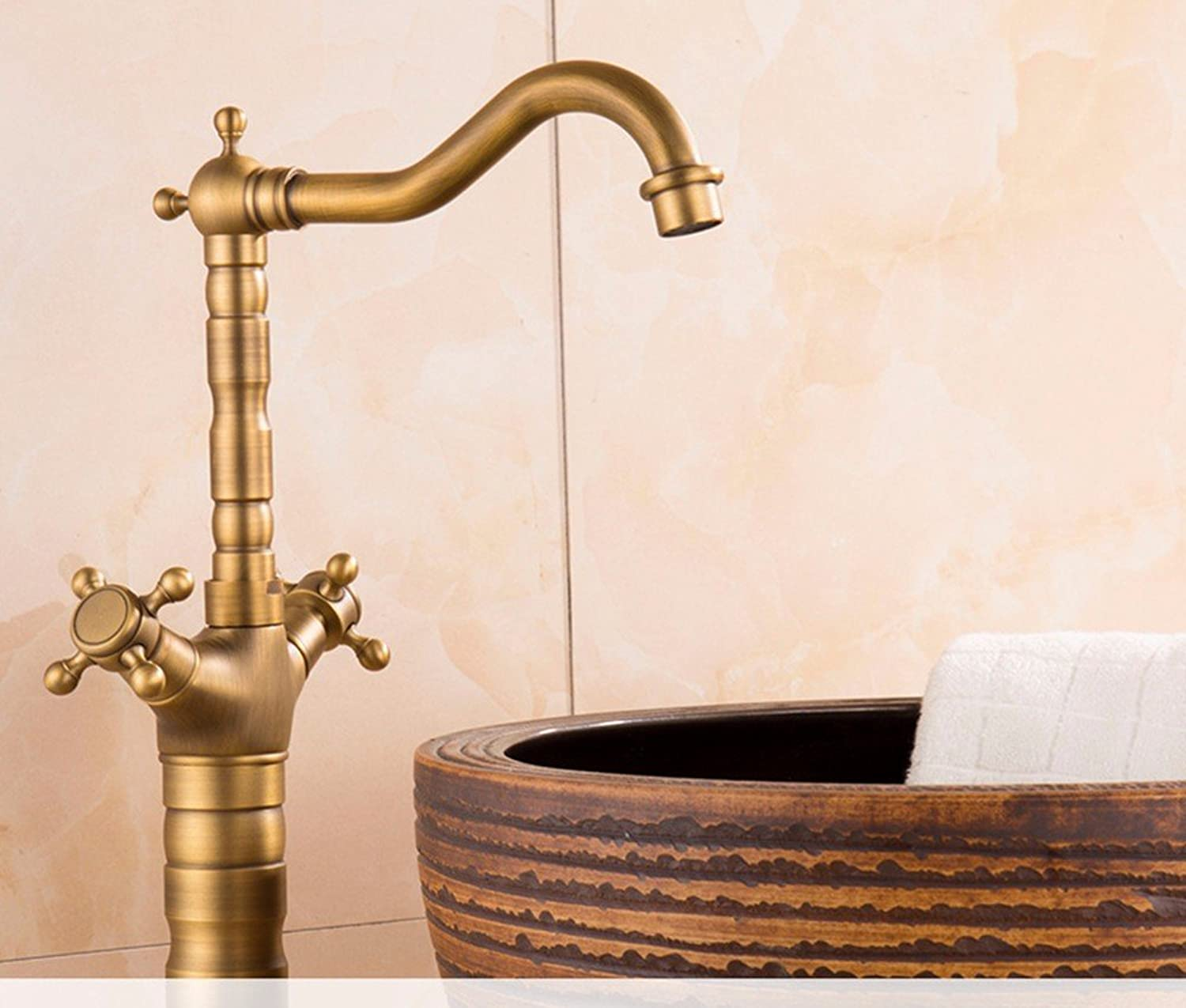 AWXJX European style retro style copper single hole kitchen basin hot and cold water leading to