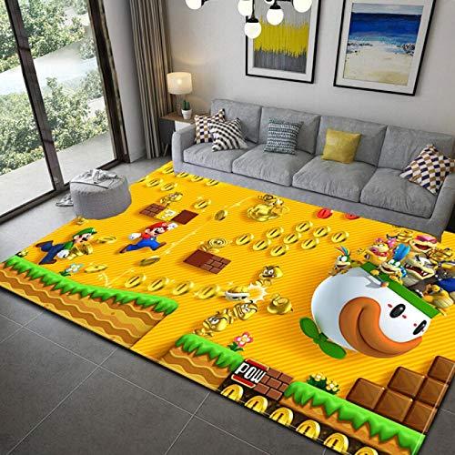WallDiy Felpudo Super Mario Home Mat Alfombra Antideslizante Hecha a máquina Alfombra de baño para Sala de Estar/Pasillo para niños