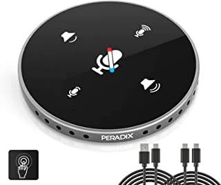 Peradix USB-microfoon, pc voor conferentie, 360° conferentiemicrofoon met mute-knop, pc-tafelmicrofoon, plug & play, compa...