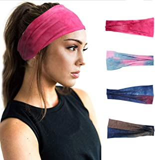 Earent Boho African Headbands Yoga Running Wide Hair Bands Sweat Tie Dye Headwraps Elastic Turban Headscarfs Pink Headwear...