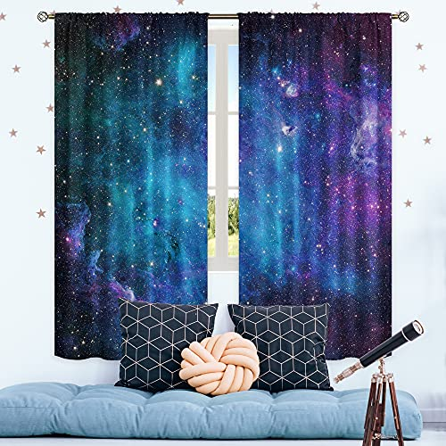 Cinbloo Kids Galaxy Curtains 2 Panels Boys Bedroom Decor Rod Pocket Outer Space Nebula Navy Blue Starry Sky Universe Planet Art Printed Living Room Window Drapes Treatment Fabric 42 (W) x 63(L) Inch