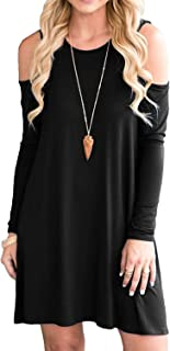 MOLERANI Women's Cold Shoulder Tunic Top Swing T-Shirt Loose Dress with Pockets