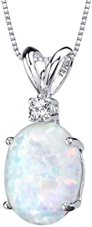 Peora 14K Gold Pendant for Women with Diamond, Elegant 10x8mm Oval Shape Solitaire in Genuine and Created Gemstones