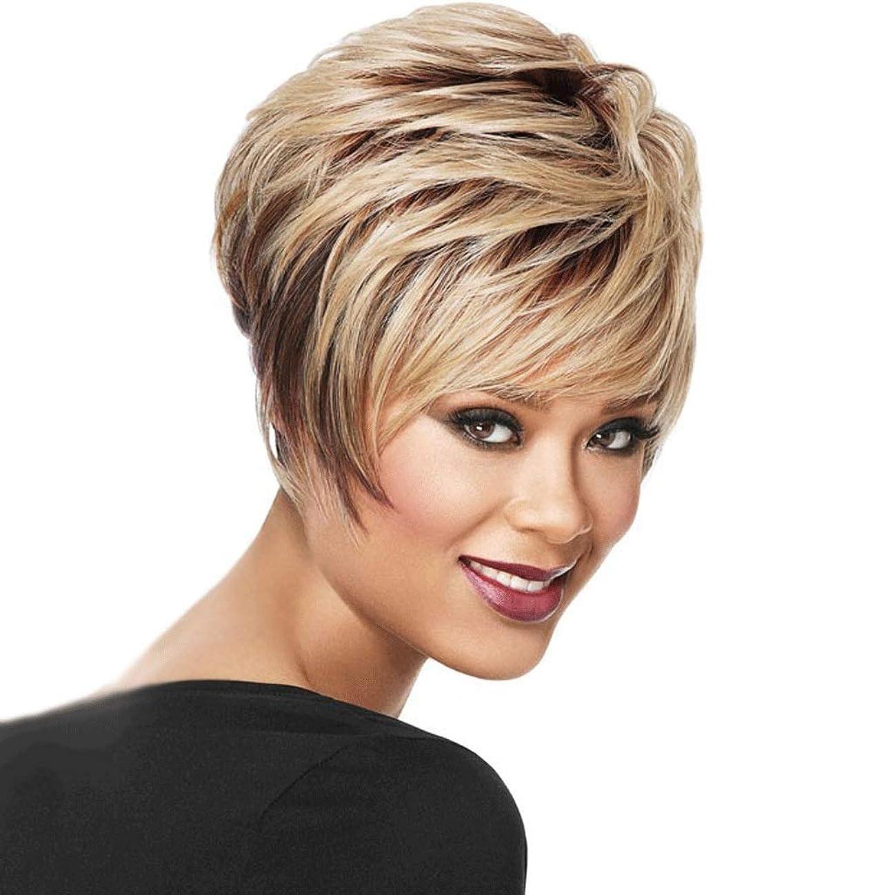 風ミス上記の頭と肩女性のための短い巻き毛の黒い根のブロンドのかつら、耐熱性合成毛/ 150%密度柔らかい/通気性 (色 : Blond)