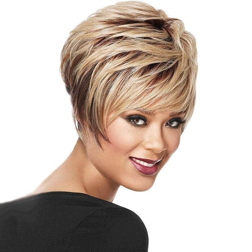 チャレンジ処方アパル女性のための短い巻き毛の黒い根のブロンドのかつら、耐熱性合成毛/ 150%密度柔らかい/通気性 (色 : Blond)