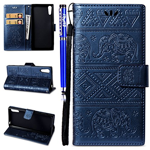 EUWLY Coque Etui en Cuir Housse de Protection pour Sony Xperia XZ,Ultra-Mince Slim-fit Anti Choc Coque avec Motif Porte-Cartes Coque à Rabat Magnétique Housse