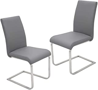 Wood & Style Furniture Mirage Faux Leather Parson Dining Chairs - Set of 2, Gray Home Office Commerial Heavy Duty Strong Décor