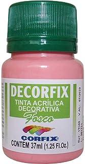 Tinta Acrilica Fosca Decorfix Rosa Cha 37ml , Caixa com 6 Corfix, Multicor