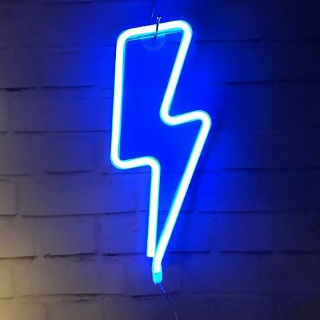 QiaoFei Blue Lightning Neonlicht, LED Lightning Sign Shaped Dekor Licht, Wanddekoration fur Weihnachten, Geburtstagsfeier, Kinderzimmer, Wohnzimmer,Hochzeitsfeier Dekor