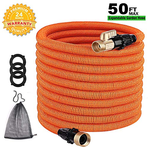 TACKLIFE Classic Essential 50ft Expandable Garden Hose with Double Latex Core, 3/4' Brass Connectors, No-Kink Flexible and No-Leak Best Water Hose-GGH1A