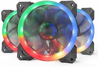 ريدراجون GC-F008 (3 حزم 120 ملم) حافظة مروحة تبريد جهاز الكمبيوتر ار جي بي - تدفق هواء هادئ عالي - 57 اف اكس اضاءة مختلفة...