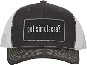 One Legging it Around got Simulacra? - Leather Black Metallic Patch Engraved Trucker Hat