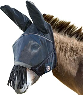 Derby Reflective Trim Mesh Mule Fly Mask with Ears & Nose Fringes - One Year Warranty - Black