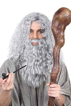 Old Wizard Wig & Beard Set