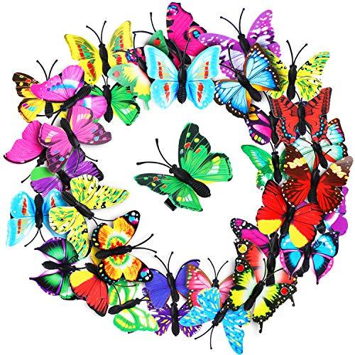 36 Stücke Schmetterling Haarspangen Bunte Schmetterling Haarnadeln 3D Weihnachten Schmetterling Haarspangen für Damen Party Gefallen (Rose Rot, Blau, Lila, Gelb, Rot, Grün)