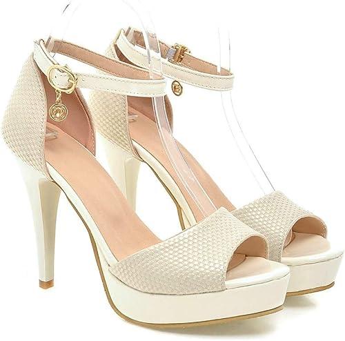 JRSHODA JRSHODA Nouvelle Mode été Chaussures à Talons Hauts Femmes Sandales avec Boucle Douce Couverture Talon Talon Plat Chaussures Plate-Forme  acheter pas cher
