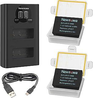 Newmowa LP-E17 Batería de Repuesto (Paquete de 2) y Smart LCD Cargador Dual USB para Canon LP-E17 y Canon EOS M3 M5 M6 M6 Mark II 200D 250D 750D 760D 800D Rebel SL3 T6i T6s 8000D Kiss X8i