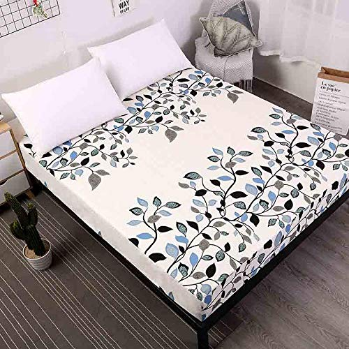 iMyoung Fitted Sheet On Elastic Band Mattress Cover with All-Around Elastic Rubber Band Anti-mite Printed Bed Sheet, 13,80x200cm