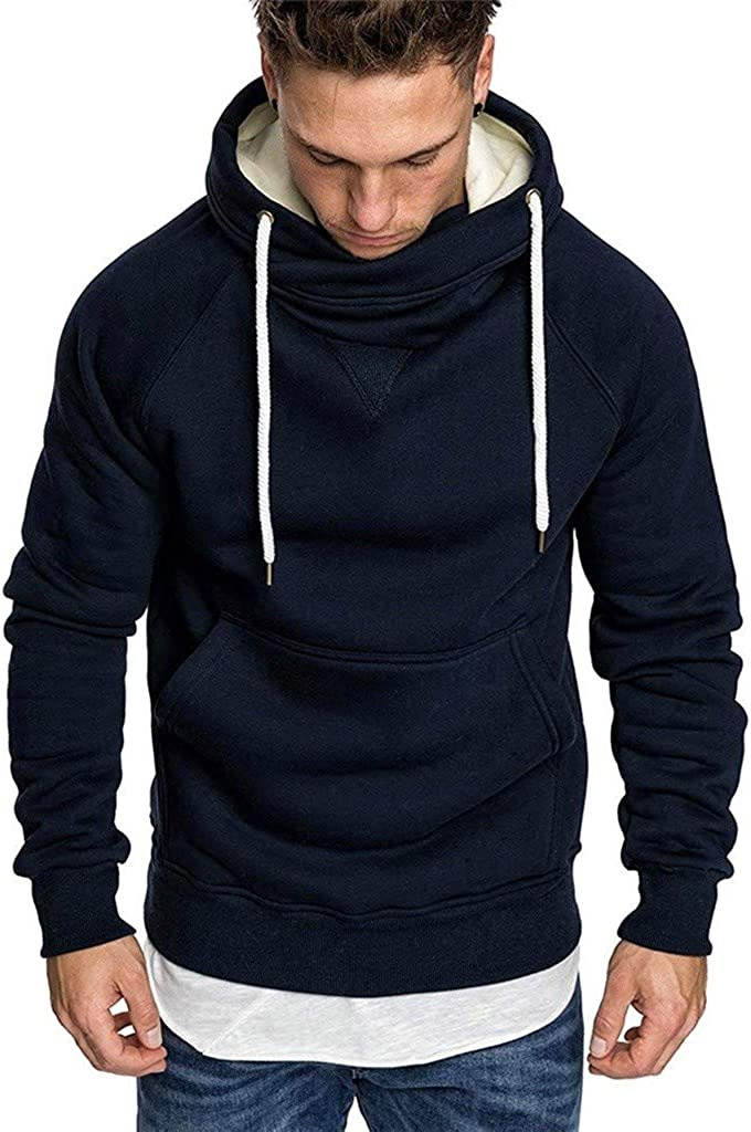 Hoodies for Men, Misaky Casual Loose Colorblock Patchwork Long Sleeve Pockets Pullover Hooded Sweatshirts Junmper
