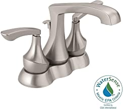 Delta Merge 4 in. Centerset 2-Handle Bathroom Faucet with Metal Drain Assembly in SpotShield Brushed Nickel