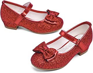 Girls Mary Jane Glitter Shoes Low Heel Princess Flower Wedding Party Dress Pump Shoes for Kids Toddler