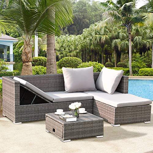 Tangkula 3PC Patio Rattan Sofa Set Outdoor Garden Patio Wicker Rattan Adjustable Steel Frame Conversation Sofa Furniture Set Cushioned Sectional (Grey)
