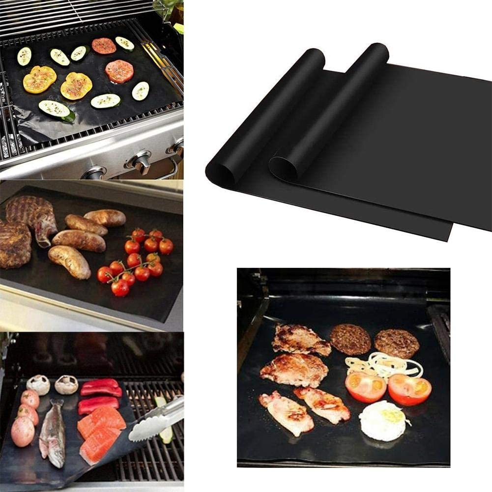 Penta BBQ Grillmatte, Teflon-Antihaft-Grillmatte Holzkohle und Backmatte, wiederverwendbar, geeignet für Kohle, Erdgas und Weber-Grill Grillmatte+bürste+clip