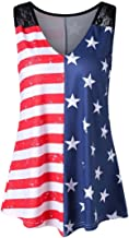 TLTL Fashion Women American Flag Print Lace Insert V-Neck Tank Tops Shirt Blouse