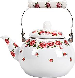sahadsbv Théière en émail à Fleurs Roses 2.5L Floral, Grande Bouilloire en Porcelaine émaillée Blanche rétro cafetière Tur...