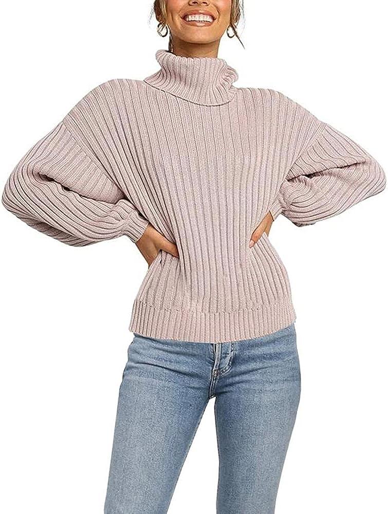 Jollycode Superlatite Womens Turtleneck El Paso Mall Long Sleeve Sweater Casu Chunky Knit