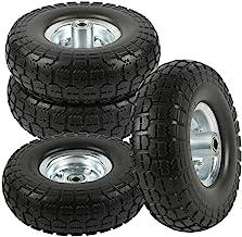 go2buy 4-Pack 10 Inch Solid Rubber Tyre Wheels Garden Wagon Cart Trolley Tires Wheels Black