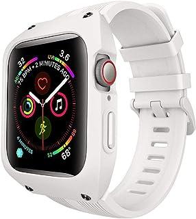 2020 For Apple Watchバンド用の バンドスーツ付きシリコーンアンチフォールプロテクションケース44mmブレスレットSs For Iwatchシリーズ用5 4-white-For 44mm apple watch