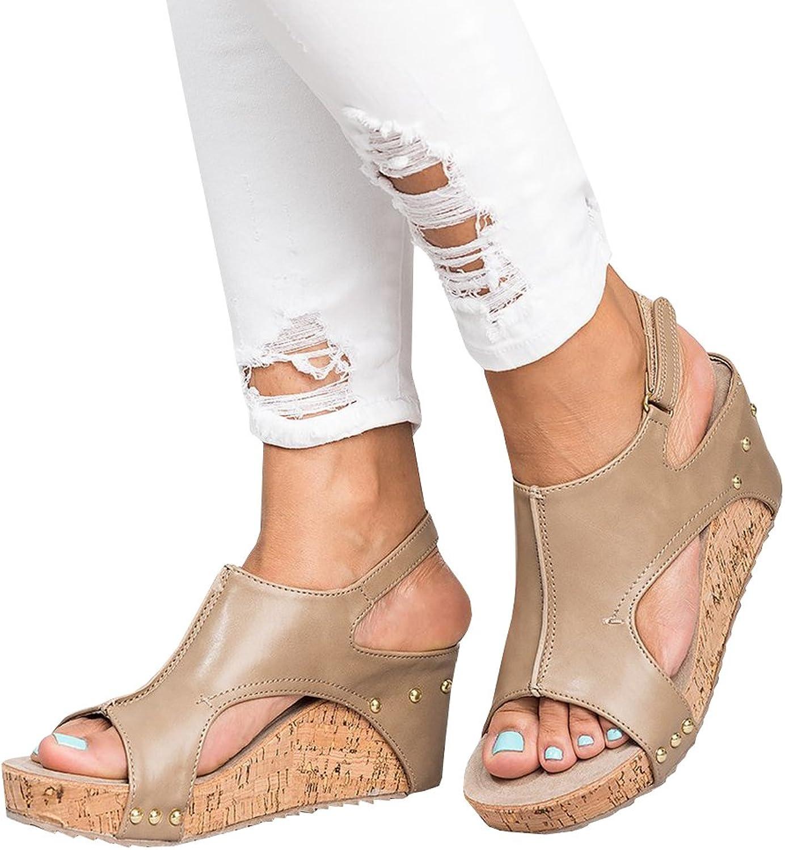Syktkmx Womens Cut Out Platform Wedges Open Toe Slingback Ankle Strap Cork Heeled Sandals