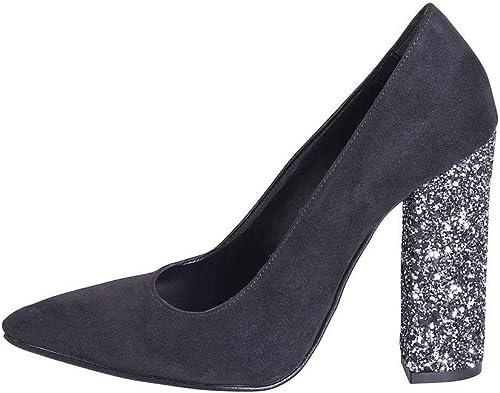 Chaussures on Line Daim Noir Noir Noir avec Talon Glitter Eileen Pailleté Taille Nombre 35Studio créations egn35 02 b54