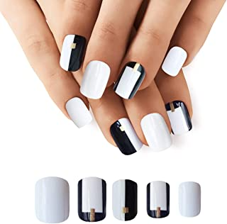 Doreliss False Nails Full Cover 30 Pcs Press On Nails with nail tapes Black and White