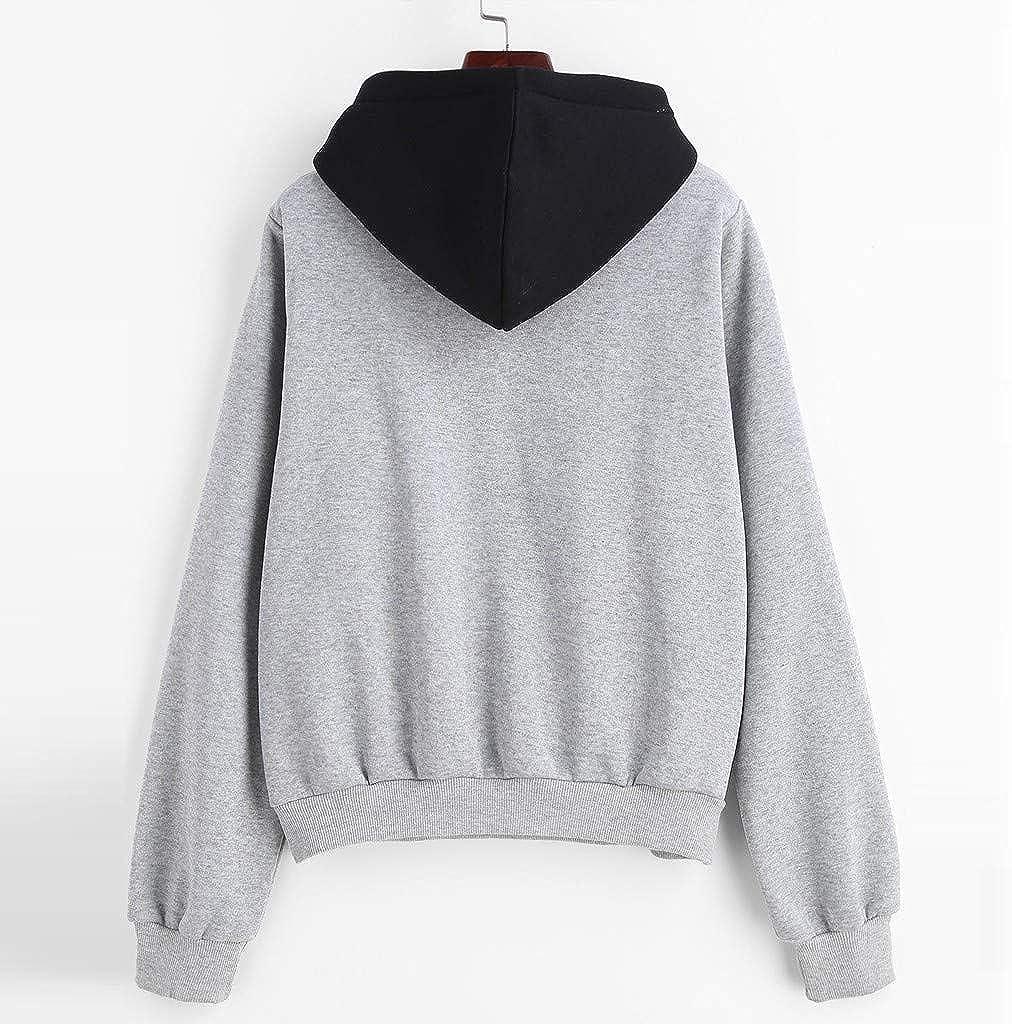 Orderking Damen Kapuzenpullover Winter Warm Langarm Hoodie Pullover Outerwear Fashion Drucken Muster Sweatshirt Casual Sweatjacke Mit Tasche Grau D