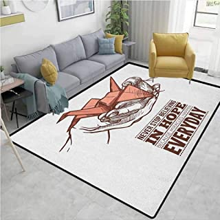 Outdoor Patio Rug Hope Hands Holding an Origami Crane with a Miracles Happen Everyday Quote Home Decor Pale Orange Brown White